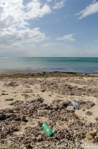 Müll am Strand von Bongoyo Island vor Dar es Salaam